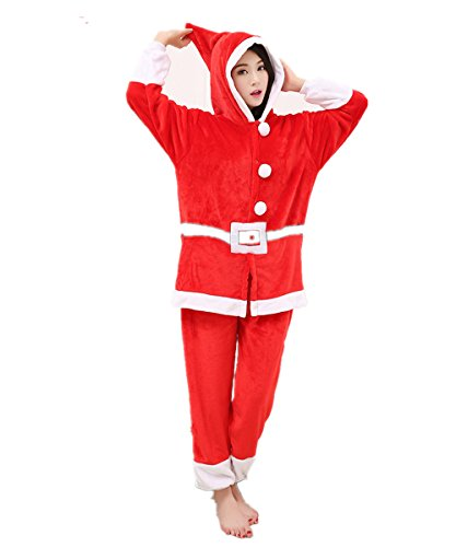 Deluxe Luxury Santa Suit - SeeU29 Men's Deluxe Party Costume Red Polar Fleece Santa Claus Christmas Suit S