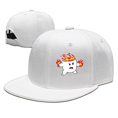 ZhiqianDF Mens Flaming Marshmallow Kawaii Cartoon Cool Travel White Caps Hats Adjustable - Character Cartoon Otto