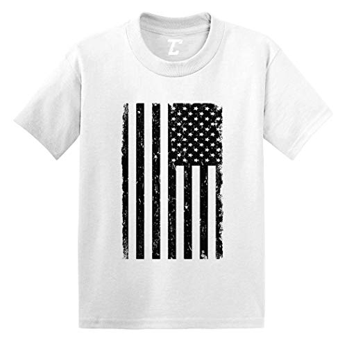 Distressed Black American Flag - USA Infant/Toddler Cotton Jersey T-Shirt (White, 18 Months)