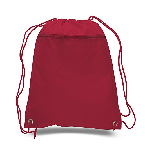 50 PACK - Multipurpose Polyester Drawstring Backpack Bags BULK with Front Zipper Pocket - School Bags Event Tradeshow bags Charity Donation Wholesale Cheap Drawstring Backpacks (Red) by BagzDepot