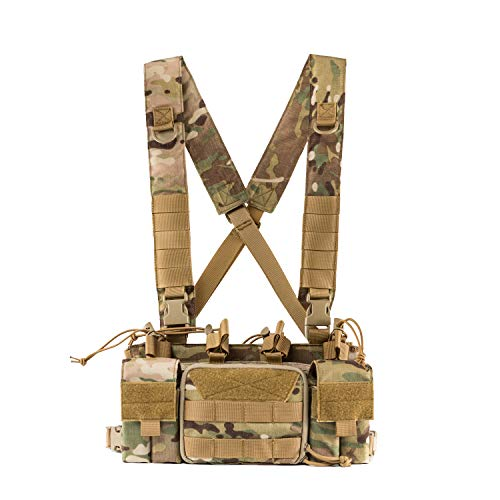 (OneTigris Tactical Chest Rig with 5.56/7.62 Rifle Mag Pouches Pistol Mag Pouches and X Harness for Airsoft Shooting Wargame Paintball (Multicam))