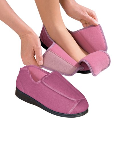 Womens Extra Extra Wide Width Adjustable Slippers - Diabetic & Edema Footwear - Dusty Rose - Clothing Footwear