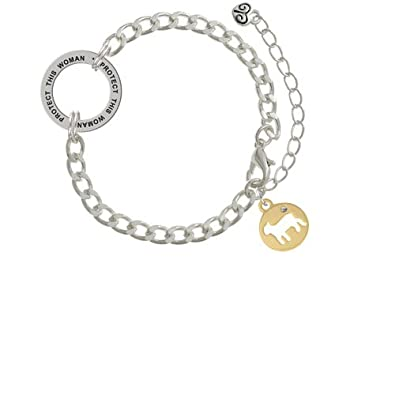 Lamb Silhouette Protect This Woman Affirmation Ring Bracelet