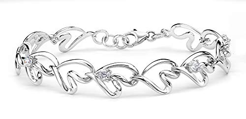 Round CZ Open Freeform Heart Link Bracelet, Rhodium Plated Sterling Silver, 7.25