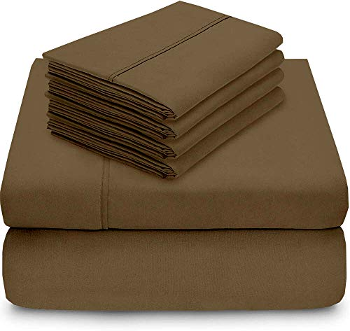 True linen 4PCs Sheet Set 100% Egyptian Cotton 600 Thread Count Queen Taupe Solid (15