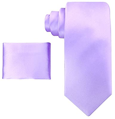 Scott Allan Mens 100% Silk Solid Necktie with Pocket Square