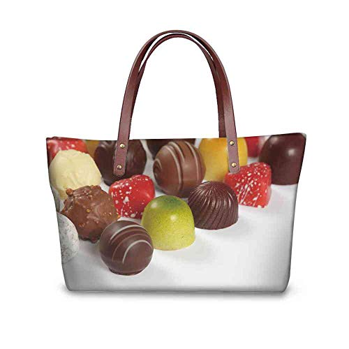 Praline Liqueur - Custom Handbag Tote Shopping Bags photo of assorted truffles pralines and liqueur filled chocolates on white background Printing Large Tote Diaper Bag Size:19.2