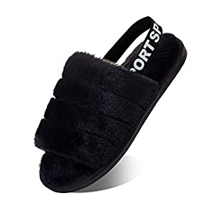 Femme Chaussons Dame Duveteux Fausse Fourrure Confort Pantoufles Chaud antidérapant des Sandales à Bout Ouvert Flou
