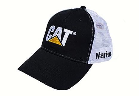 93199df92f162 Amazon.com  Caterpillar CAT Marine Black   White Twill Mesh Snapback Cap Hat   Sports   Outdoors