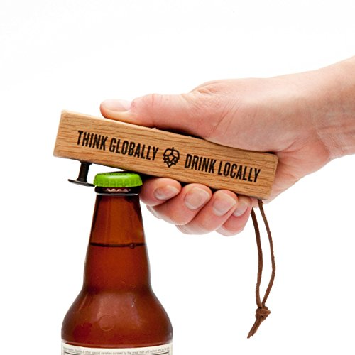 BREWCAPPER - Dent-Free Wood Bottle Opener - MADE IN USA from Recycled Whiskey Barrels, Doesn't Dent Caps - Great Beer Gift - Father's Day Gift, Dad Gift, Beer Opener, Man - Beer Cap Opener Bottle
