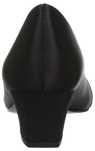 Facile Strada Delle Donne Pompa Vestito Eloise Raso Nero / Nero Con Suola In Cuoio