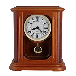 JUSTIME 11 inch Tall Traditional Burled Walnut Hardwood Mantel Table Clock Rich High-end Dual 4 4 Chiming Pendulum Movement-T00047-R