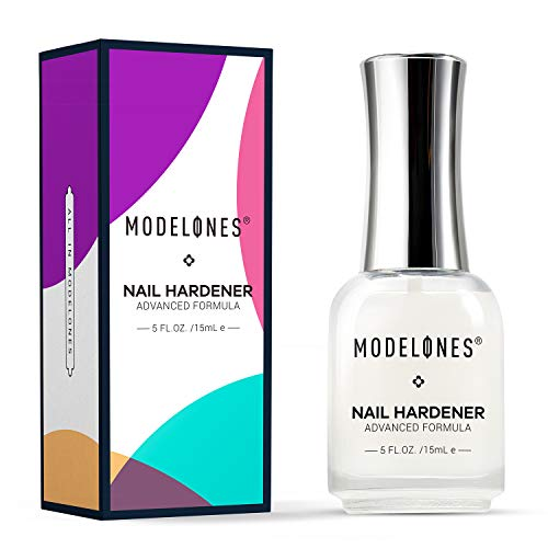 Modelones Nail Hardener Strengthener Polish Treatment Assists with Chipping, Peeling, Brittle Fingernails, Strengthens, Conditions, Hardens Nails, 0.5 fluid oz