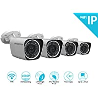 LaView 1080P Wifi Wirless Security Cameras - 4 Pack - HD Indoor/Outdoor Wifi Bullet IP Cameras with 100Ft Night Vision, Easy Remote Access, On-Board Storage Slot