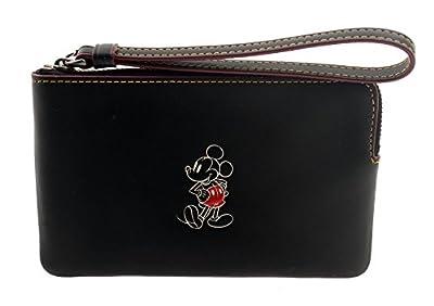 COACH MICKEY Glove Calf Leather Corner Zip Wristlet in Black