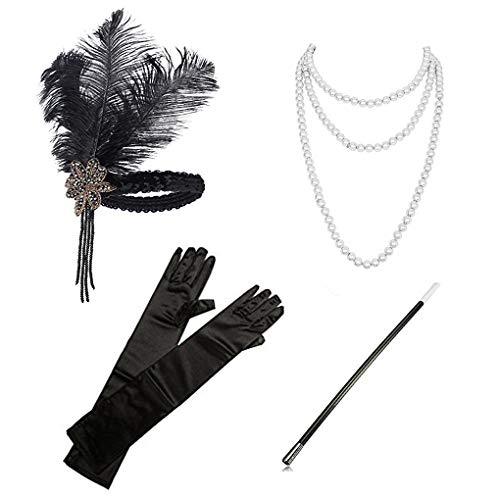 1920s Accessories Headband Necklace Gloves Cigarette Holder Flapper Costume Accessories Set for Women(set4)]()