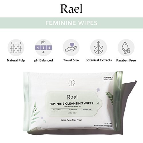 Rael Feminine Wet Wipes with Natural Ingredients - Flushable, Travel size, Unscented, Biodegradable, Praben Free, pH-Balanced, Daily use, Gentle & Safe on the Skin for Women intimate (3Pack)
