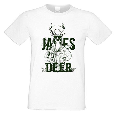 Wiesn T-Shirt - Cooler Hirsch James Deer grün Shirt Farbe weiß - Funshirt für's Oktoberfest statt Lederhose und Dirndl