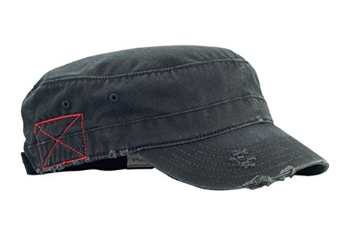 G Men's Castro Style Enzyme Washed Cotton Twill Army Cap (Black)