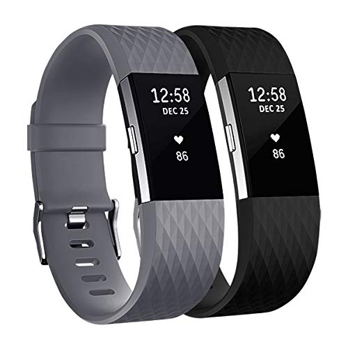 Fundro Replacement Bands Compatible with Fitbit Charge 2, 2 Pack Classic & Special Edition Adjustable Sport Wristbands (Large (6.7