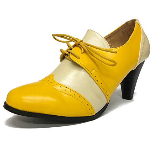 - Chase & Chloe Dora-5 Two Tone Lace up Low Heel Women's Oxford (9 B(M) US, Yellow/White)