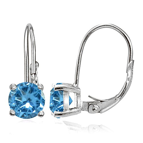 - Sterling Silver Simulated Blue Topaz 6mm Round Leverback Earrings