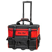 """XtremepowerUS 18"""" Rolling Tool Bag Wide Mouth Opening with Handle"""