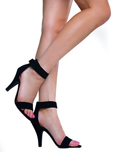 Heerlijke Dames Open Teen Hoge Hak Enkelbandje Jurk Sandaal Hakken-sandalen Zwarte Nubuck