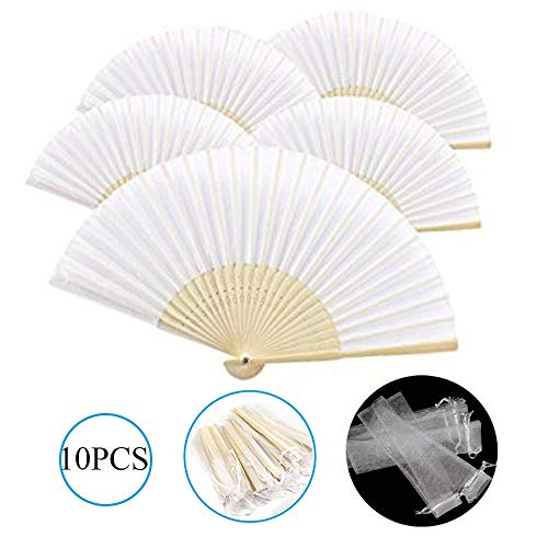 Dproptel 10PCS Hand Fan Pocket Paper Fan 10 Compartments with Gift Bags Wedding Party Guest Favor Wedding Decoration (White)