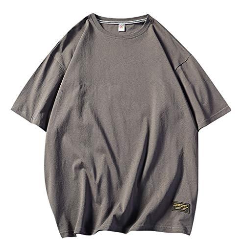 Mens Summer Casual Loose Pure O-Neck Fashion Short Sleeves T-Shirts Top Blouse 9 Colors Dark Gray