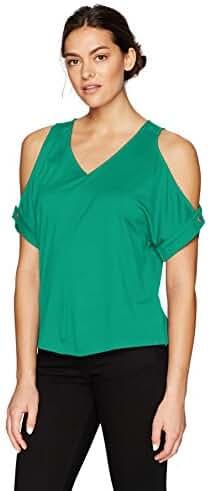 Ellen Tracy Women's V Neck Cold Shoulder Top