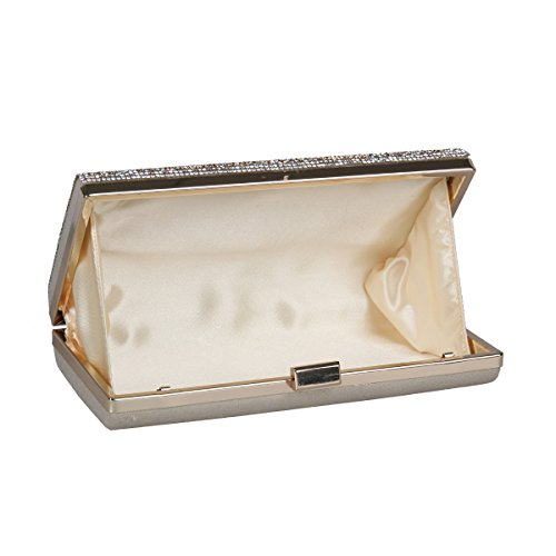 Womens Damara Evening Crystal Rose Studded Textured Elegent Silver Clutch fqdrqwT