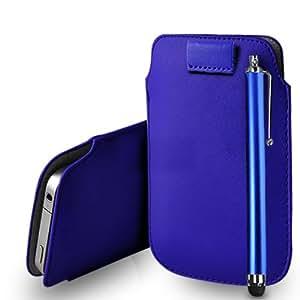 Sony Xperia T de cuero azul Tire Tab caso de la cubierta Pouch + Touch Pen Stylus + paño de pulido