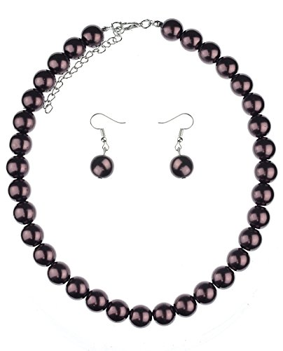 NYFASHION101 Women's 10mm Simulated Pearl Necklace with Ball Earrings Set, Bronze