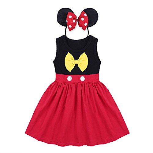 Baby Girls Princess Snow White Mermaid Cosplay Birthday Pageant Fancy Costume Bowknot Summer Tutu Dress Up Outfit]()