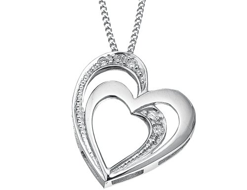 Double Floating Heart Diamond Pendant Necklace in Sterling Silver with Chain ()