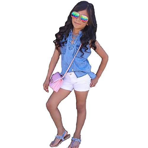 Denim Vest Costume (girls white short pants set baby Sleeveless vest Denim shirt Suit clothes 1-7Y (tag:3T/2-3Y, Blue))
