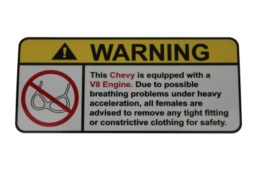 Chevy Small Block Supercharger - Chevy V8 No Bra, Warning decal, sticker