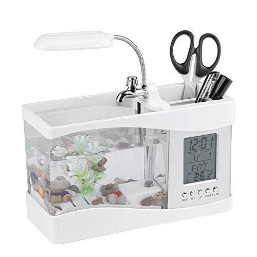 Asixx Peceras Pequeñas, Mini Acuario, de Plástico, con La Pantalla Digital LCD, Luz LED, para El Hogar Y Oficina,...