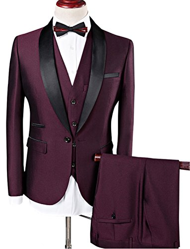 Jydress Men Suit Wedding Suits For Men Shawl Collar 3 Pieces Burgundy Suit Mens Royal Blue Tuxedo Jacket Buy Online In India At Desertcart In Productid 60784263