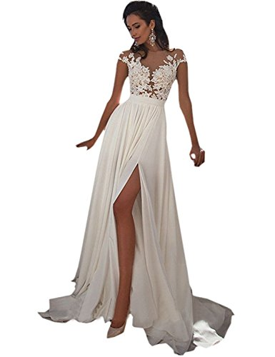 Sheik Fancy Dress (Nicefashion Women's Vintage Lace Top Empire Sexy Illusion Back Beach Wedding Dress with Side Split White US6)