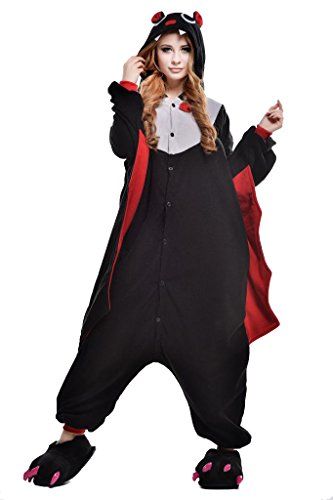 NEWCOSPLAY Unisex Adult One- Piece Cosplay Animal Pajamas Halloween Costume (M, Bat)