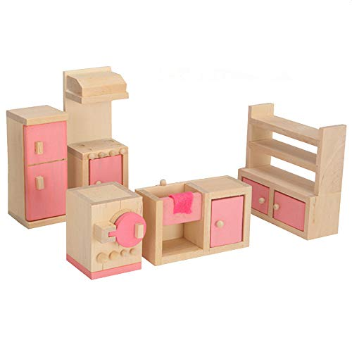 - Karooch Wooden Doll House Small Furniture Set with Bed Table Chair Cabinet Dollhouse Accessories for Home Kitchen, Children's Room, Bathroom, Bedroom(Pink)
