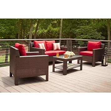Amazon.com : Patio Furniture Sale   Hampton Bay Patio Set   Beverly 4 Piece  Deep Patio Seating Set With Dragon Fruit Cushions : Patio, Lawn U0026 Garden