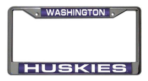 Rico Industries NCAA Washington Huskies Laser Cut Inlaid Standard Chrome License Plate Frame