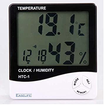 Easelife� Premium Quality Temperature Humidity Time Display Meter with Alarm Clock, Wall Mount or Table Top Monitor Sensor Thermostat Home Office, Digital Indoor Thermometer with Memory, HTC-1