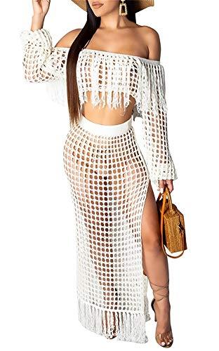 (Womens Sexy Hollow Out 2 Piece Sheer Mesh Off Shoulder Long Sleeve Crop Top High Waisted Long Maxi Skirt Clubwear Set White)