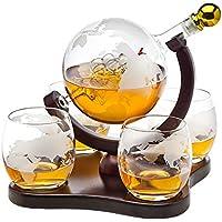 Godinger Whiskey Decanter Globe Set with 4 Etched Globe Whisky Glasses