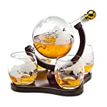 Whiskey Decanter Globe Set with 4 Etched Globe Whisky Glasses – for Liquor, Scotch, Bourbon, Vodka – 850ml