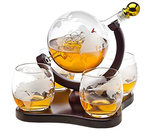 Whiskey Decanter Globe Set with 4 Etched Globe Whisky Glasses - for Liquor, Scotch, Bourbon, Vodka - 850ml - Tray Glass Art Stained